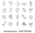 set of 20 maps in linear style... | Shutterstock .eps vector #685709506
