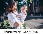 beautiful young mom and... | Shutterstock . vector #685710382