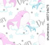 seamless pattern with cute... | Shutterstock .eps vector #685714675