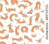 cute dog dachshund seamless...   Shutterstock .eps vector #685715722
