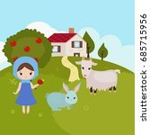cartoon landscape with farm... | Shutterstock .eps vector #685715956