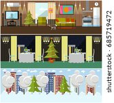 set of banners with home ... | Shutterstock . vector #685719472