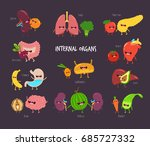 healthy food for internal... | Shutterstock .eps vector #685727332