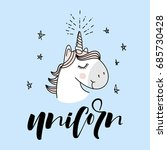 cute magical unicorn head... | Shutterstock .eps vector #685730428