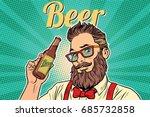 bearded hipster beer. pop art...