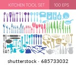 kitchen tools set of 100 icons... | Shutterstock .eps vector #685733032