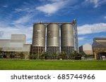 view of meadow silos tank... | Shutterstock . vector #685744966
