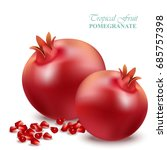 Pomegranate Realistic Isolated...