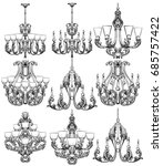 rich baroque classic chandelier ... | Shutterstock .eps vector #685757422