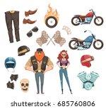 retro cartoon rider set of... | Shutterstock .eps vector #685760806