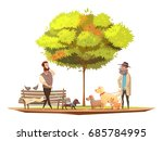 dog owner concept with walking... | Shutterstock .eps vector #685784995