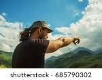 a man traveling in the mountains | Shutterstock . vector #685790302