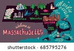 Illustrated map of Massachusetts state, USA.  Travel and attractions