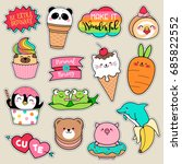 Stock vector set of fashion patches cute colorful badges fun cartoon icons design vector in animal shaped food 685822552