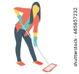 janitor color vector icon  | Shutterstock .eps vector #685857232