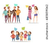family retro cartoon set with... | Shutterstock .eps vector #685859062