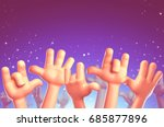 cartoon hands at a party.... | Shutterstock . vector #685877896
