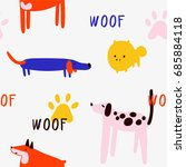 funny seamless pattern with... | Shutterstock .eps vector #685884118