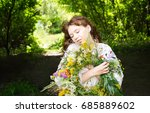 pretty young woman in... | Shutterstock . vector #685889602