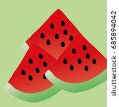watermelon  green background ve