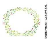 green floral wreath isolated on ... | Shutterstock . vector #685896526