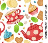tea time seamless pattern. cups ... | Shutterstock .eps vector #685904335