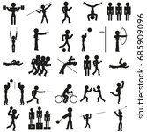 vector sports icon set in black | Shutterstock .eps vector #685909096