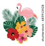vector illustration of flamingo ... | Shutterstock .eps vector #685913428