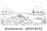 The vector  landscape painting background.