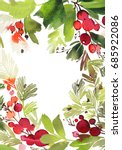 christmas watercolor card with... | Shutterstock . vector #685922086