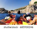 kayaking between rocks on the... | Shutterstock . vector #685930246