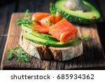 closeup of sandwich with... | Shutterstock . vector #685934362
