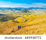 group of hikers going down the... | Shutterstock . vector #685938772