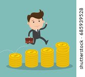 businessman jumping on a pile... | Shutterstock .eps vector #685939528