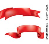 realistic red ribbons. vector... | Shutterstock .eps vector #685946026