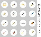 set of 16 editable tools flat...