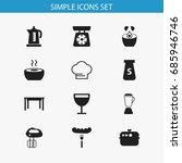 set of 12 editable restaurant... | Shutterstock .eps vector #685946746