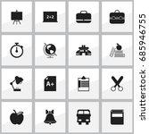 set of 16 editable education... | Shutterstock .eps vector #685946755