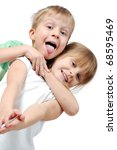 happy 5 year old girl and boy... | Shutterstock . vector #68595469