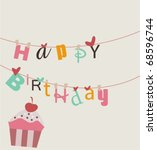 happy birthday card | Shutterstock .eps vector #68596744