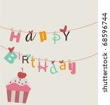 happy birthday card | Shutterstock .eps vector #68596744