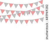 bunting flag triangle pink grey ... | Shutterstock .eps vector #685969282