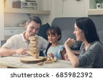 happy family and daughter... | Shutterstock . vector #685982392