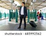 business traveler pulling... | Shutterstock . vector #685992562