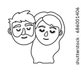 line couple lover head with... | Shutterstock .eps vector #686001406
