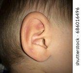 closeup image of ear. | Shutterstock . vector #686016496