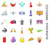 musical performance icons set.... | Shutterstock .eps vector #686041222