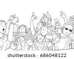illustration of mixed ethnic... | Shutterstock .eps vector #686048122