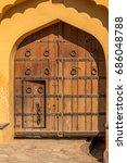 antique wooden door   amer fort ... | Shutterstock . vector #686048788