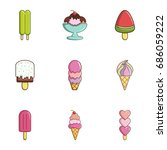 ice cream icons set. flat set... | Shutterstock .eps vector #686059222